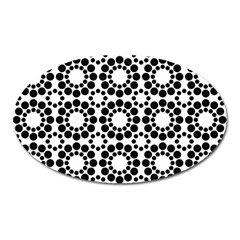 Black White Pattern Seamless Monochrome Oval Magnet
