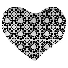 Black White Pattern Seamless Monochrome Large 19  Premium Heart Shape Cushions by Celenk