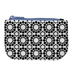 Black White Pattern Seamless Monochrome Large Coin Purse by Celenk