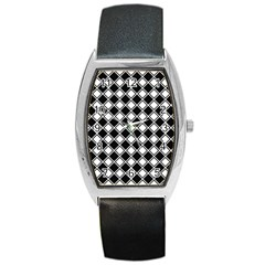 Black White Square Diagonal Pattern Seamless Barrel Style Metal Watch