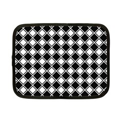 Black White Square Diagonal Pattern Seamless Netbook Case (small)