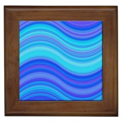 Blue Background Water Design Wave Framed Tiles by Celenk