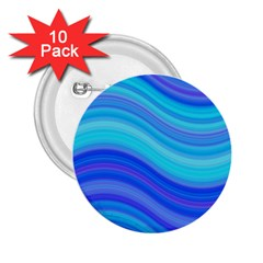Blue Background Water Design Wave 2 25  Buttons (10 Pack)