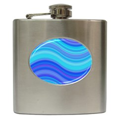 Blue Background Water Design Wave Hip Flask (6 Oz) by Celenk