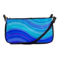 Blue Background Water Design Wave Shoulder Clutch Bags by Celenk
