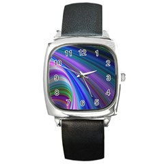 Background Abstract Curves Square Metal Watch
