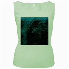 Blue Black Shiny Fabric Pattern Women s Green Tank Top