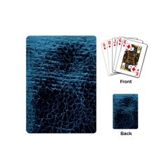 Blue Black Shiny Fabric Pattern Playing Cards (mini)