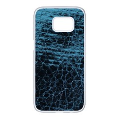 Blue Black Shiny Fabric Pattern Samsung Galaxy S7 Edge White Seamless Case