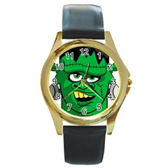 Buy Me A Coffee Halloween Round Gold Metal Watch by Celenk