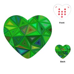 Green Triangle Background Polygon Playing Cards (heart)  by Celenk