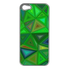 Green Triangle Background Polygon Apple Iphone 5 Case (silver) by Celenk