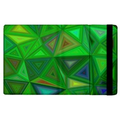 Green Triangle Background Polygon Apple Ipad 3/4 Flip Case by Celenk