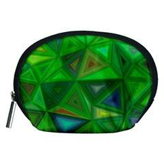 Green Triangle Background Polygon Accessory Pouches (medium)  by Celenk