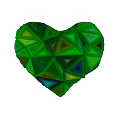 Green Triangle Background Polygon Standard 16  Premium Flano Heart Shape Cushions