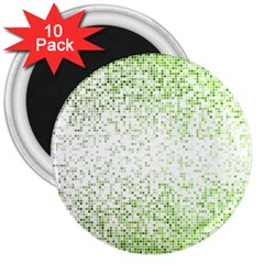 Green Square Background Color Mosaic 3  Magnets (10 Pack)  by Celenk