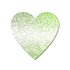 Green Square Background Color Mosaic Heart Magnet