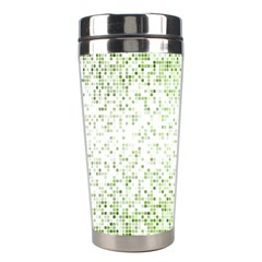 Green Square Background Color Mosaic Stainless Steel Travel Tumblers by Celenk