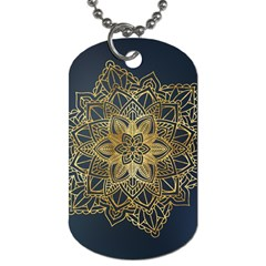 Gold Mandala Floral Ornament Ethnic Dog Tag (one Side) by Celenk