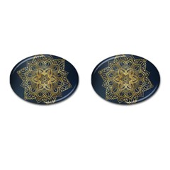 Gold Mandala Floral Ornament Ethnic Cufflinks (oval) by Celenk