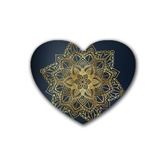 Gold Mandala Floral Ornament Ethnic Heart Coaster (4 Pack)  by Celenk