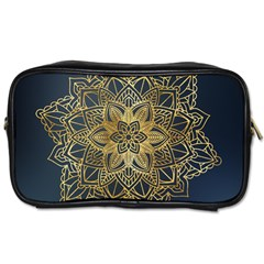 Gold Mandala Floral Ornament Ethnic Toiletries Bags 2 Side by Celenk