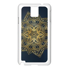 Gold Mandala Floral Ornament Ethnic Samsung Galaxy Note 3 N9005 Case (white) by Celenk