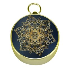 Gold Mandala Floral Ornament Ethnic Gold Compasses by Celenk