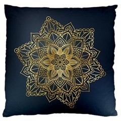 Gold Mandala Floral Ornament Ethnic Standard Flano Cushion Case (one Side) by Celenk