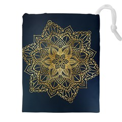Gold Mandala Floral Ornament Ethnic Drawstring Pouches (xxl) by Celenk