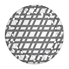Grid Pattern Seamless Monochrome Round Filigree Ornament (two Sides) by Celenk
