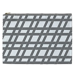 Grid Pattern Seamless Monochrome Cosmetic Bag (xxl)  by Celenk