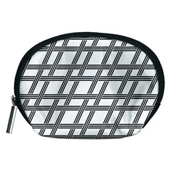 Grid Pattern Seamless Monochrome Accessory Pouches (medium)  by Celenk