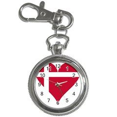 Heart Love Flag Denmark Red Cross Key Chain Watches by Celenk