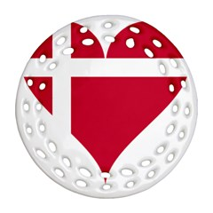 Heart Love Flag Denmark Red Cross Ornament (round Filigree) by Celenk