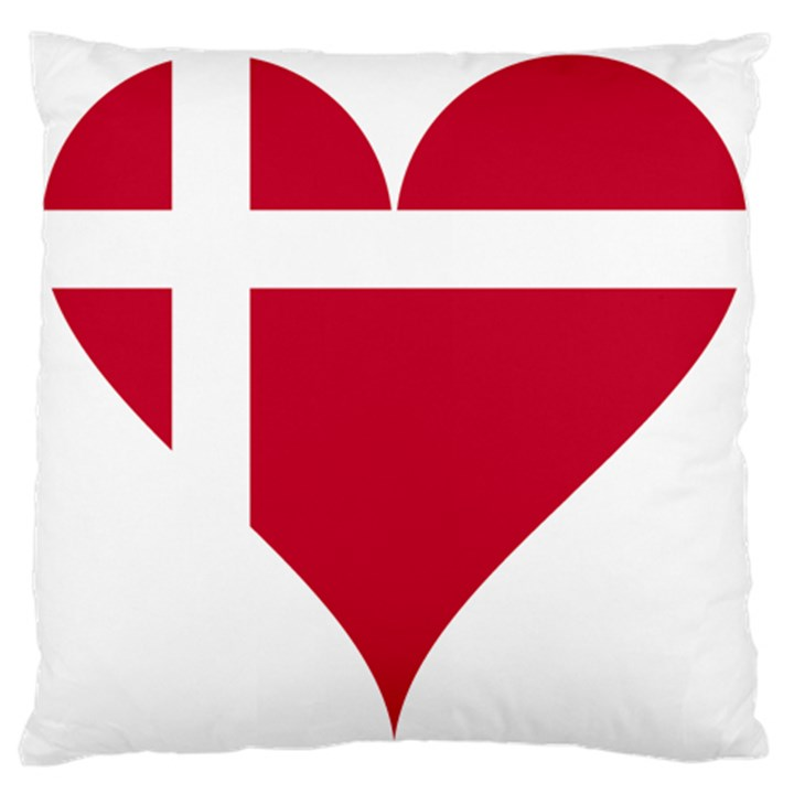 Heart Love Flag Denmark Red Cross Large Flano Cushion Case (Two Sides)