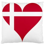 Heart Love Flag Denmark Red Cross Large Flano Cushion Case (Two Sides) Back