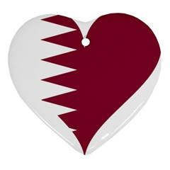 Heart Love Flag Qatar Heart Ornament (two Sides)