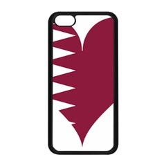 Heart Love Flag Qatar Apple Iphone 5c Seamless Case (black) by Celenk