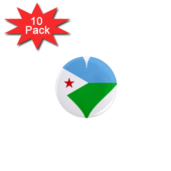 Heart Love Flag Djibouti Star 1  Mini Magnet (10 pack)