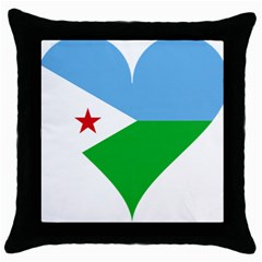 Heart Love Flag Djibouti Star Throw Pillow Case (black) by Celenk