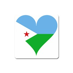Heart Love Flag Djibouti Star Square Magnet