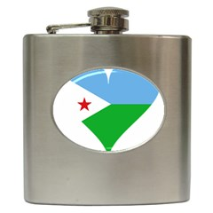 Heart Love Flag Djibouti Star Hip Flask (6 Oz) by Celenk