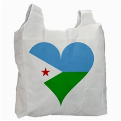Heart Love Flag Djibouti Star Recycle Bag (two Side)