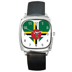 Heart Love Flag Antilles Island Square Metal Watch