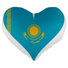 Heart Love Flag Sun Sky Blue Large 19  Premium Flano Heart Shape Cushions by Celenk