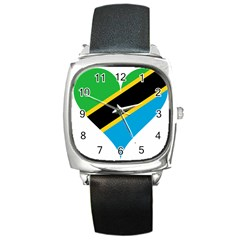 Heart Love Tanzania East Africa Square Metal Watch by Celenk