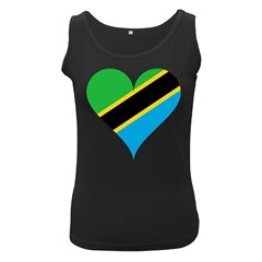 Heart Love Tanzania East Africa Women s Black Tank Top
