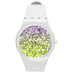 Irregular Rectangle Square Mosaic Round Plastic Sport Watch (m) by Celenk