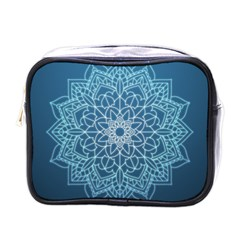Mandala Floral Ornament Pattern Mini Toiletries Bags by Celenk